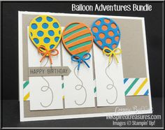 I used Stampin' Up!'s Balloon Adventures Bundle for the Create with Connie and Mary Sketch Challenge this week, love the panels! #stampinup, #inkspiredtreasures, created by Connie Babbert, www.inkspiredtreasures.com
