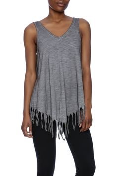 Grey tank top with a v-neckline fringe trimming and an asymmetric hemline.  Grey Dyed Tank by Kelly Fields Boutique. Clothing - Tops - Sleeveless Clothing - Tops - Tees & Tanks Missouri