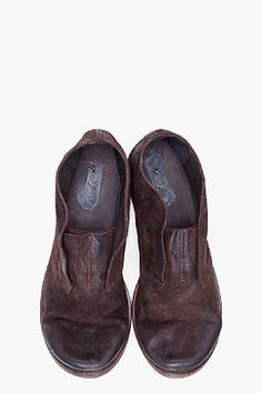 MARSELL Espresso Deer Leather Slip Ons