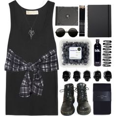 Grunge by adorechic on Polyvore featuring moda, MICHAEL Michael Kors, 3.1 Phillip Lim, Zara, Fashionology, Muji, D.L. & Co. and Dr. Martens