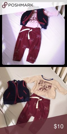 0-3 months Baby rocker outfit Baby rockstar outfit. 3 pieces. 0-3 months. in great condition. Old Navy Matching Sets
