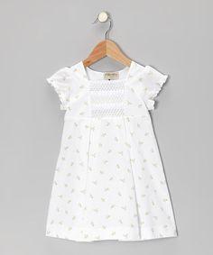 White & Green Floral Smocked Dress - Infant & Toddler by P'tite Môm #zulily #zulilyfinds