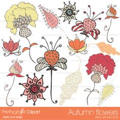 14 autumn floral clipart great for decorating invitations, cards, scrapbooking projects, stationery and more.