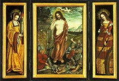Small winged altar with the Resurrection of Christ, St. Barbara (Left Wing) and St. Catharine (right Wing) - Lucas Cranach the Elder