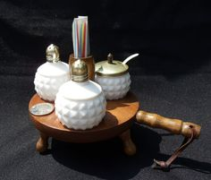 VINTAGE Milk Glass Condiment 3Piece Set by disNdatVINTAGE on Etsy, $15.00