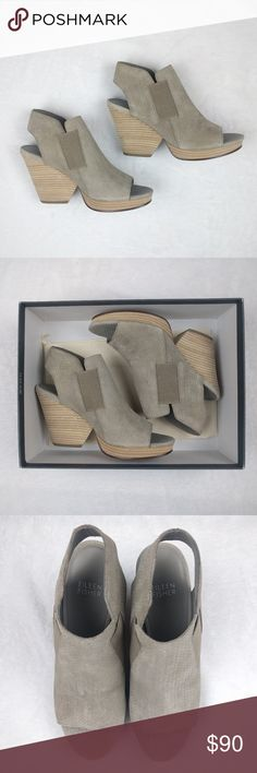 """Eileen Fisher 'plus' Earth Sandal Open Toe Heels These Eileen Fisher open toe sandal heels are perfect for summer. Color is beige. Comes with box and dust bag! In great condition. Has minor scuffs on back of heel (picture #6) scuff on side of shoe (picture #7). Still has a TON of life left! Earth Suede upper with padded leather insole. Leather lining, leather and rubber sole. Wood stacked platform and heel. 4"""" heel and 3/4"""" platform Size: 7M Eileen Fisher Shoes Platforms"""