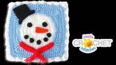 Snowman Blanket Square - Crochet Motif - January