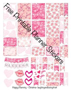 Free Printable Valentine Planner Stickers for ECLP and Happy Planner