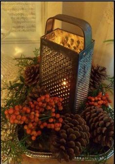 """Rustic Christmas table decor, vintage cheese grater with candle, berries, cedar and pinecones- """"Shabby Chic Christmas"""" by love_diyss Noel Christmas, Christmas Projects, Winter Christmas, Simple Christmas, Beautiful Christmas, Christmas Ideas, Christmas Quotes, Outdoor Christmas, Homemade Christmas"""
