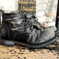 Men's Vintage Leather Ankle Boots Brogue Chelsea Boots, Leather Chukka Boots, Leather Chelsea Boots, Pu Leather, Mens Short Boots, Ankle Boots Men, Men's Boots, Alligator Boots, Rider Boots