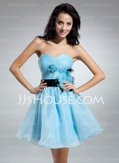 Cocktail Dresses - $118.49 - A-Line/Princess Sweetheart Knee-Length Organza Charmeuse Cocktail Dress With Ruffle Sash Feather Flower(s) (016014912) http://jjshouse.com/A-Line-Princess-Sweetheart-Knee-Length-Organza-Charmeuse-Cocktail-Dress-With-Ruffle-Sash-Feather-Flower-S-016014912-g14912