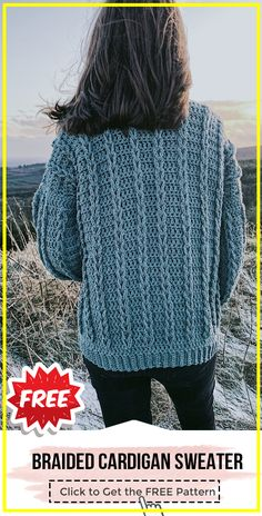 Crochet Cable Cardigan free pattern - easy crochet cardigan pattern for beginners Cardigan Au Crochet, Crochet Jacket Pattern, Gilet Crochet, Crochet Coat, Crochet Clothes, Crochet Stitches, Cable Cardigan, Crochet Patterns, Shawl Patterns