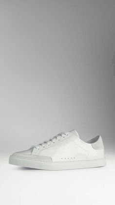Burberry | Leather Trainers with Suede Trim #burberry #trainers