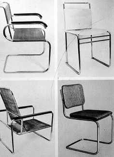 Classic Bauhaus Chairs.  Love the style of these with arms.  Found reproductions…
