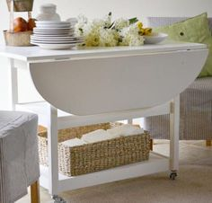 I want to make this! DIY Furniture Plan from Ana-White.com How to build a drop leaf storage table with free, simple, step by step plans from Ana-White.com