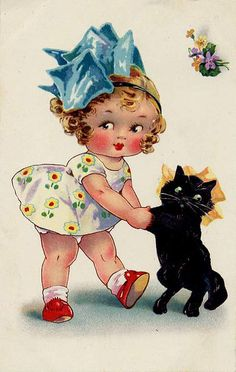 Vintage Images: vintage postcards-girl with black cat Vintage Greeting Cards, Vintage Ephemera, Vintage Postcards, Images Vintage, Vintage Pictures, Halloween Vintage, Poster Vintage, Vintage Prints, Retro