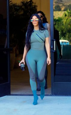 04355719f6e Kim Kardashian wears three bizarre tight lycra outfits in one day