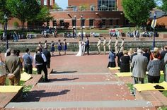 Outdoor wedding ceremony decor & setup. From Paul & Amy's Simple, Blue & Yellow Frederick Maryland Wedding at The Faux School. Images by Rachel Harrod Photography.