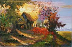 Tranh phong cảnh bình yên của làng quê