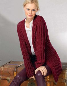 Бордовый кардиган - схема вязания спицами. Вяжем Кардиганы на Verena.ru Red Cardigan, Crochet Cardigan, Knit Crochet, Knit Jacket, Rubrics, Strong Women, Lana, Knitting Patterns, Sweaters For Women