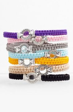 Love these colored macrame bracelets