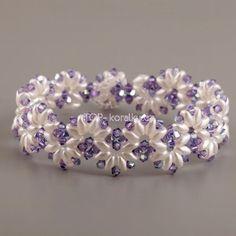 01 - bracelet - twinbeads - white - violett - bicones