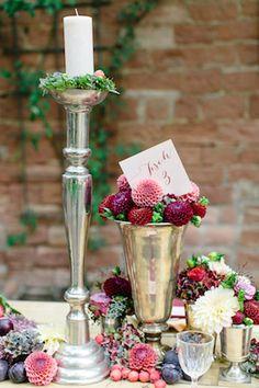 Autumn wedding centerpieces | Julia Winkler Photography | see more on: http://burnettsboards.com/2014/11/berry-autumn-wedding-inspiration/