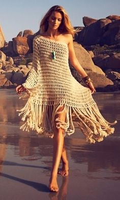 Beach Crochet Dress - World Fashion Week Crochet Beach Dress, Knit Dress, Crochet Bikini, Crochet Dresses, Mode Hippie, Bohemian Mode, Hippie Style, Boho Style, Beach Dresses