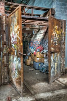 Painted Kiln Door at Evergreen Brickworks (Don Valley Brick Works) a former quarry and industrial site in Toronto, Canada. Photo by Udo Dengler.