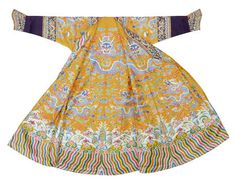 Empress' dragon robe, 1736-1795 (Qianlong period). Bright yellow gauze with double sided embroidered pattern. Length 152 cm x width 174 cm. A female dragon robe has slits on the sides, but not on the front and back.