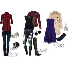 Aurora's Cas, Kate's Sam, and Kyra's Dean Bronze Outfit- School Hard 3