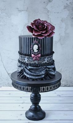 Fabulous gothic double barrel wedding cake ~ all edible