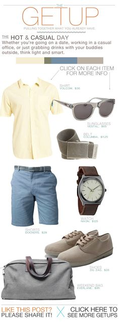 The Getup: Hot & Casual Whether you're going on a date, working in a casual office, or just grabbing drinks with your buddies outside, think light and smart. Men's fashion light yellow button up short sleeve blue shorts Casual Wear, Casual Outfits, Men Casual, Casual Menswear, Look Fashion, Mens Fashion, Fashion Tips, Fashion Menswear, Fashion Spring