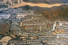 Illustrated plan of Jerusalem in the Mosaic Map of Madaba, Jordan. Designed in 570 AD, it shows the whole region, from Jordan in the north to Egypt in the south, and is now housed in the Greek Orthodox Church of St. George.