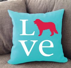 Bernese Mountain Dog Love pillow. Offered in multiple colors and 50+ dog breeds. Cover is machine washable and Made in USA.