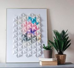 How to make 3D modular origami wall art - The key is to learn to interlock the folded pieces.