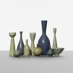 Carl-Harry Stalhane collection of ten vases. Rorstrand Sweden, c. glazed stoneware, dia x h inches. Incised signature and studio mark to underside of each example: [R Sweden CHS]. Scandinavian Art, Royal Copenhagen, The 5th Of November, Ceramic Vase, Midcentury Modern, Pottery Art, Stoneware, Sculptures, Planters