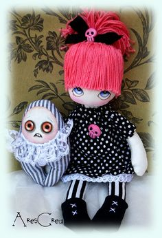 Lucilla handmade black and white gothic/emo cloth doll by AresCrea, $75.00