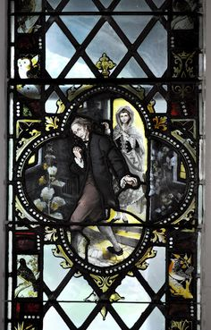Ichabod Crane stained glass at Sleepy Hollow Cemetery, Sleepy Hollow, NY