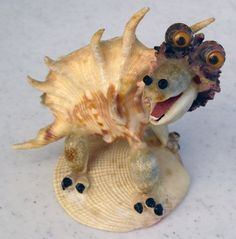 Small Spiky Conch Unique Whimsical Folk Art Sea Shell Dinosaur Figurine VGC #Unbranded #Animal