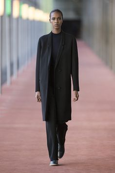 12. Suit coat and high-waisted pants in wool-cotton covert, second skin high neck sweater in extrafine wool, low camarguaises in box calf leather #lemaire