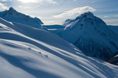 Powder turn rewards on our Heli-Assisted Ski Touring program, Bella Coola Heli Sports.