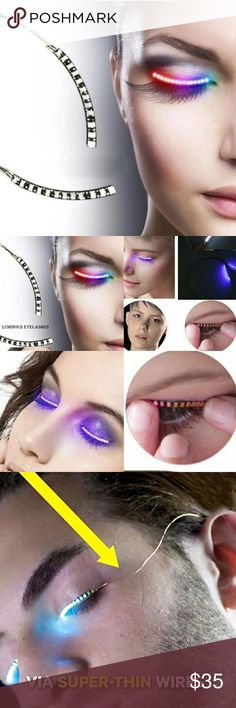 Led Eyelashes COMING SOON ! ! Green, red and  blue color will be available ! So trendy ! Makeup False Eyelashes