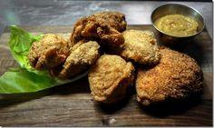 Homemade Kentucky fried chicken with sweet hot mustard.