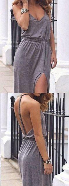 Gray V Neck Slit Side Cut Out Back Maxi Dress