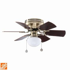 This small ceiling fan is Ideal for smaller rooms up to 80 sq. ft. with standard 8 ft. ceilings. The fan has an attractive antique brass finish, six reversible walnut and oak blades and an opal mushroom glass light fixture.