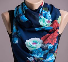 Floral Summer ScarfSpring ScarfInfinity by STEAMSTYLEeu on Etsy