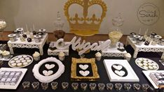Royal black and white party desserts! See more party planning ideas at CatchMyParty.com!