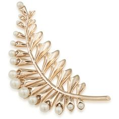 Carolee  Gold-Tone Pearl Floral Leaf Pin (5.125 RUB) ❤ liked on Polyvore featuring jewelry, brooches, floral jewellery, pearl jewelry, floral brooches, pin brooch and pearl brooch