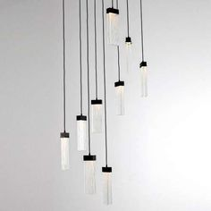 Parallel Glass 9 Square LED Multipoint Pendant Light